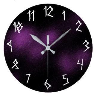 Relógio Grande Estilo gótico preto roxo escuro legal