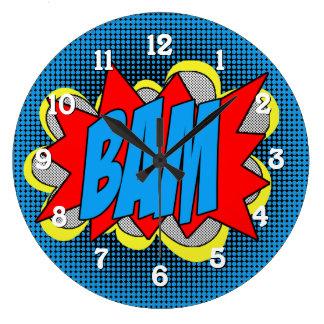 Relógio Grande Estilo legal BAM do pop art da banda desenhada do