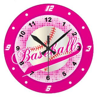 Relógio Grande Estilo retro do basebol do rosa quente