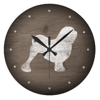Relógio Grande Estilo rústico da silhueta de Lowchen