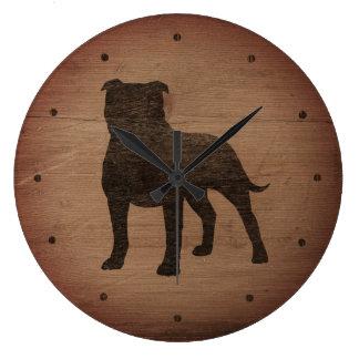 Relógio Grande Estilo rústico da silhueta de Staffordshire bull
