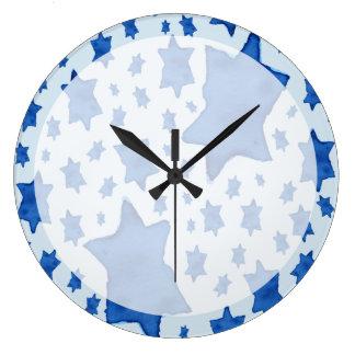 Relógio Grande Estrela de David azul da aguarela