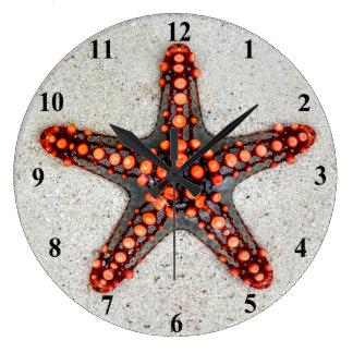 Relógio Grande Estrela do mar brilhante do vermelho alaranjado na