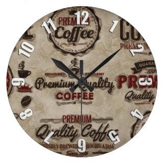Relógio Grande Etiquetas retros do café para amantes do café