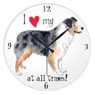 Relógio Grande Eu amo meu pastor australiano