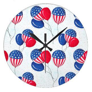 Relógio Grande EUA bandeira balão americano o 4 de julho