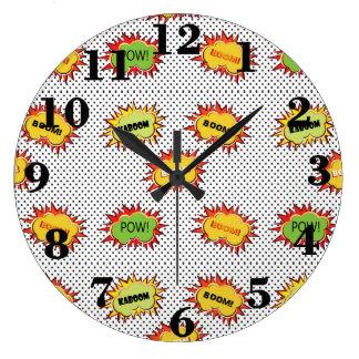Relógio Grande explosão do pop art na polca preto e branco