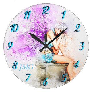 Relógio Grande Fada da aguarela no azul com monograma