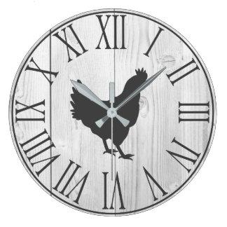 Relógio Grande Falso rústico elegante madeira & galinha brancas