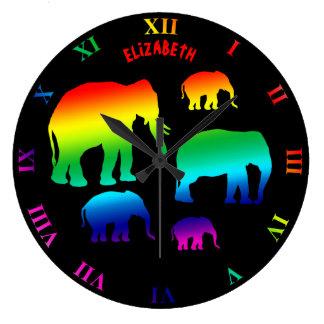 Relógio Grande Família do elefante do arco-íris com três vitelas