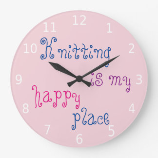 Relógio Grande Fazer malha é meu lugar feliz com números