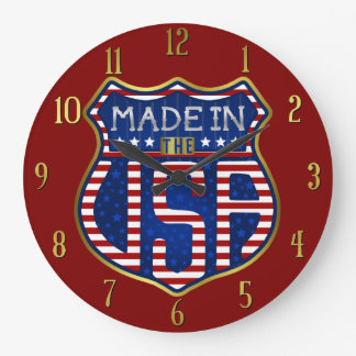 Relógio Grande Feito nos EUA 4ns do logotipo americano orgulhoso