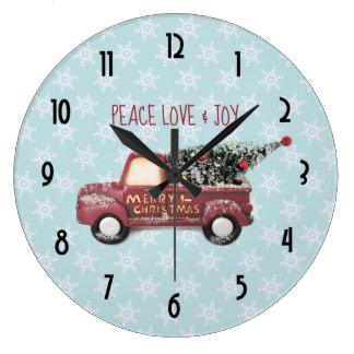 Relógio Grande Feliz Natal do caminhão do brinquedo do amor & da