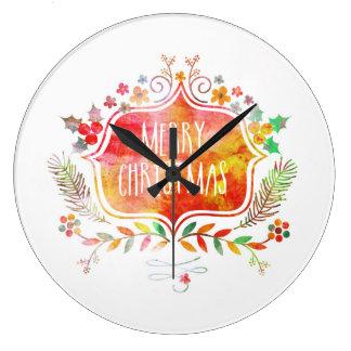 Relógio Grande Feliz Natal retro da aguarela