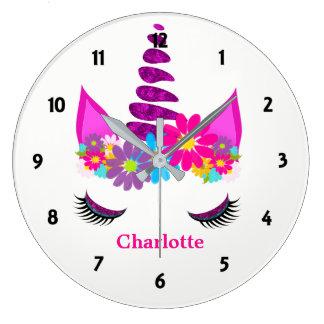 Relógio Grande Feminino bonito super florido do unicórnio