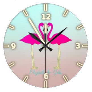 Relógio Grande Flamingos cor-de-rosa adoráveis no