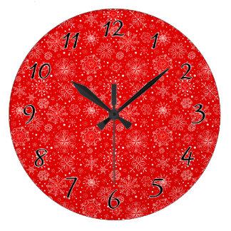 Relógio Grande Flocos de neve brancos no vermelho do Natal