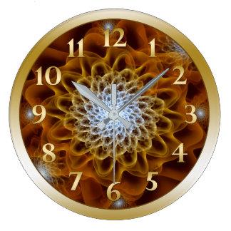 Relógio Grande Flor ambarina de Brown do ouro