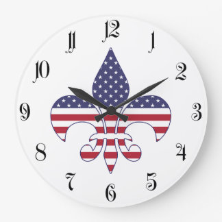 Relógio Grande Flor de lis patriótica da bandeira americana