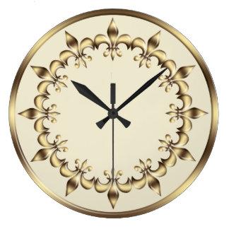 Relógio Grande Flor de lis real dourada do elemento do círculo.