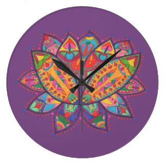 Relógio Grande Flor de lótus colorida