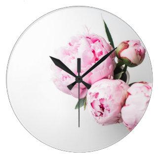 Relógio Grande Floral coram as peônias cor-de-rosa