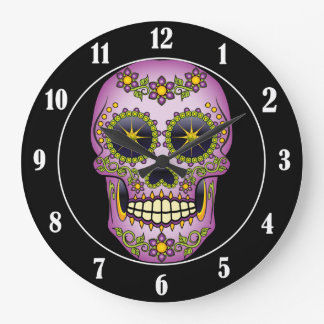 Relógio Grande Floral roxo do crânio do açúcar