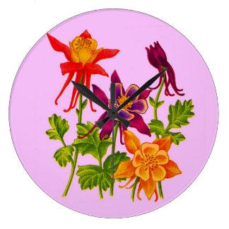 Relógio Grande flores aquilégias