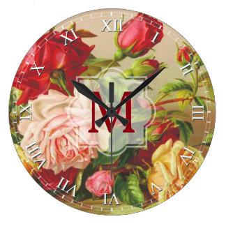 Relógio Grande Flores do buquê do vintage do monograma dos rosas