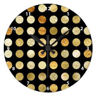 Relógio Grande Folha de ouro e preto das bolinhas do brilho