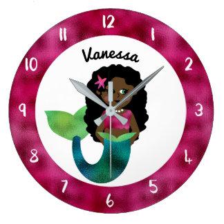 Relógio Grande Folha personalizada do falso da sereia do