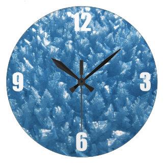 Relógio Grande fotografia azul fresca bonita dos cristais de gelo
