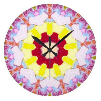 Relógio Grande Fractal cor-de-rosa doce dos doces