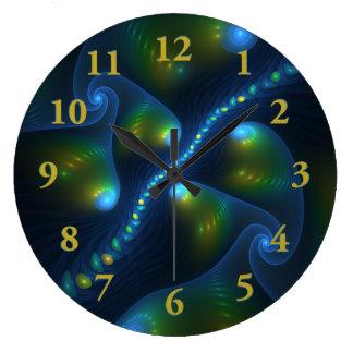 Relógio Grande Fractal do amarelo do verde azul do abstrato das