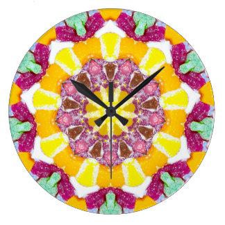 Relógio Grande Fractal dos doces das laranjas e dos limões
