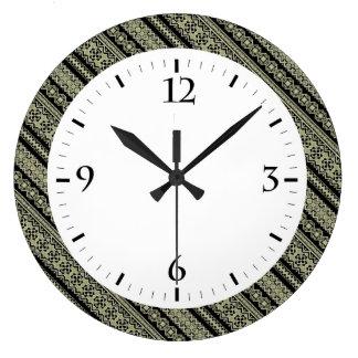 Relógio Grande Fundo bonito do ornamento de Ucrânia da azeitona