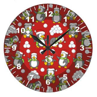 Relógio Grande Fundo dos pinguins do Natal