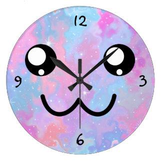 Relógio Grande Fundo Pastel do espaço de Kawaii Colorfull