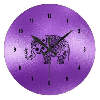 Relógio Grande Fundo roxo brilhante do elefante preto de Paisley