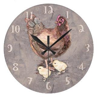 Relógio Grande Galinha da mãe e aguarela dos pintinhos