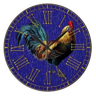Relógio Grande Galo do vintage sua pintura da cor