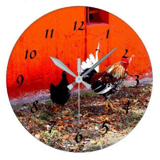 Relógio Grande Galo e galinha coloridos