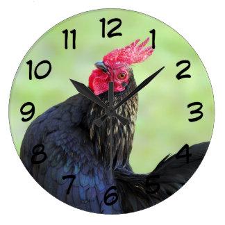 Relógio Grande Galo preto