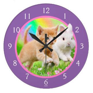 Relógio Grande Gatinho & coelho com arco-íris
