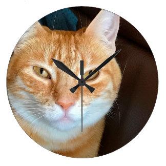 Relógio Grande Gato de gato malhado alaranjado