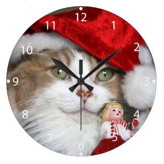 Relógio Grande Gato do papai noel - gato do Natal - gatinhos