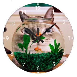 Relógio Grande Gato e peixes - gato - gatos engraçados - gato