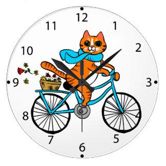 Relógio Grande Gato que monta uma bicicleta