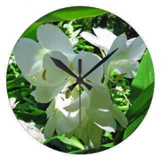 Relógio Grande Gengibre branco havaiano