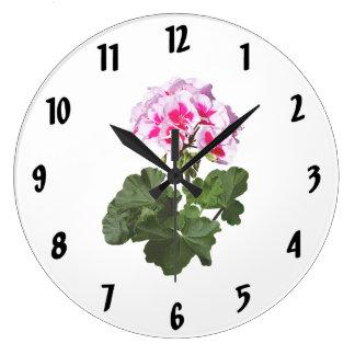 Relógio Grande Gerânio vermelho e cor-de-rosa